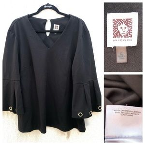 Anne Klein V-Neck Blouse With Grommets on Sleeves